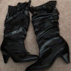 Shoes - Tall black patent boot size 9